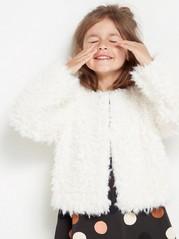 Kort jakke med fuskepels Hvit