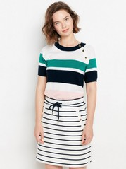 Striped Short Sleeve Jumper  Green