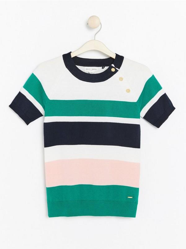 Stripet, kortermet genser Grønn