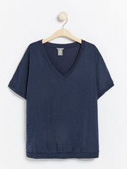 Short sleeve v-neck top  Blue