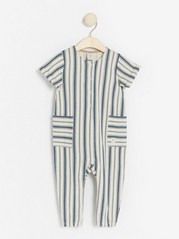 Striped jersey jumpsuit Blue