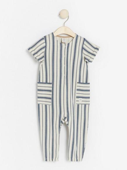 Stripet jumpsuit i jersey Blå