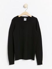 Long sleeve merino wool top  Black