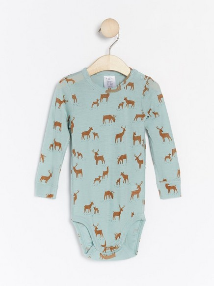 Patterned merino wool bodysuit Aqua