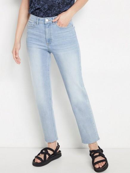 NEA Croppade raka jeans med high waist Blå