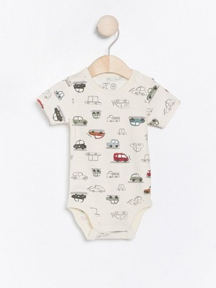 Short sleeve bodysuit with cars Beige