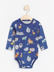 Long sleeve bodysuit with animal pattern Blue