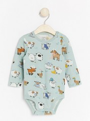 Long sleeve bodysuit with animal pattern Aqua