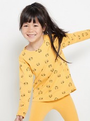 Long sleeve slub jersey top with extra long fit Yellow