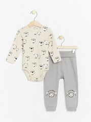 Set with bodysuit and trousers with sheep Grey