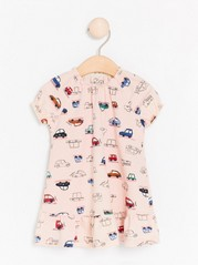 Pink cotton dress with car print Pink