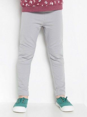 Leggings with brushed inside and reinforced knees Grey