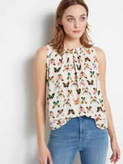 White Sleeveless Blouse with Butterflies  Green
