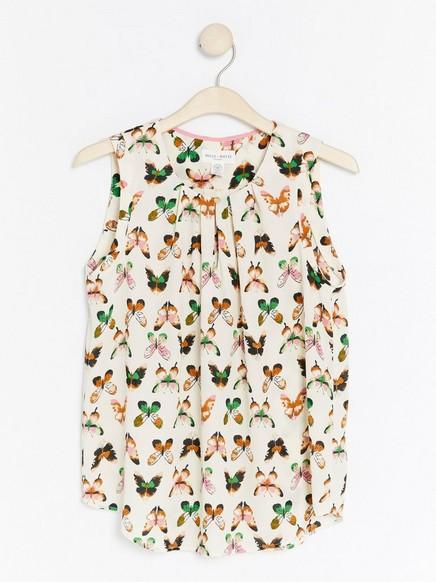 Hvit ermeløs bluse med sommerfugler Grønn