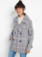 Peacoat with glencheck pattern Beige