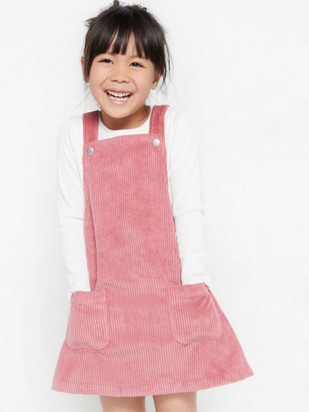 Corduroy dungaree dress Pink