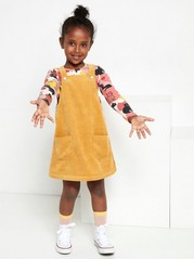 Corduroy dungaree dress Yellow