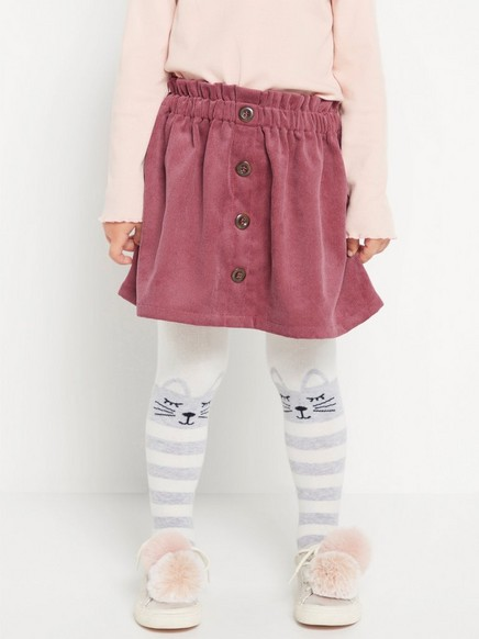 Corduroy skirt with buttons Pink