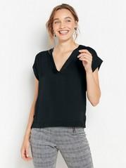 Short sleeve v-neck top with shiny front Black