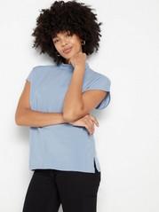 Short sleeve mock neck top in viscose  Blue