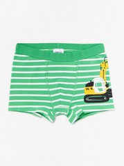 Striped boxer shorts with excavator print Green