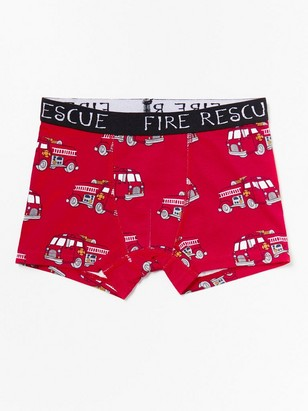Red boxer shorts with fire trucks Red