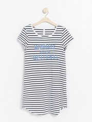 White night dress with stripes and print  White