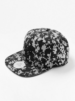 Flat peak cap with reflective print Black