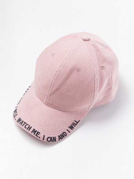 Pink corduroy cap with text Pink