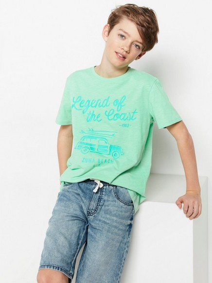 Slubbjersey-T-skjorte med trykk Grønn