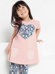 Short sleeve jersey tunic with pockets Pink