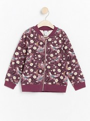 Patterned soft bomber jacket Pink