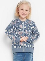 Patterned soft bomber jacket Blue