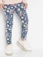 Leggings with birds and flowers Blue