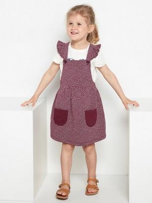 Lilaprickig hängselklänning med volanger Röd