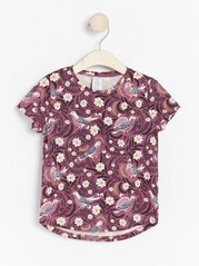 Patterned top with birds and flowers Pink