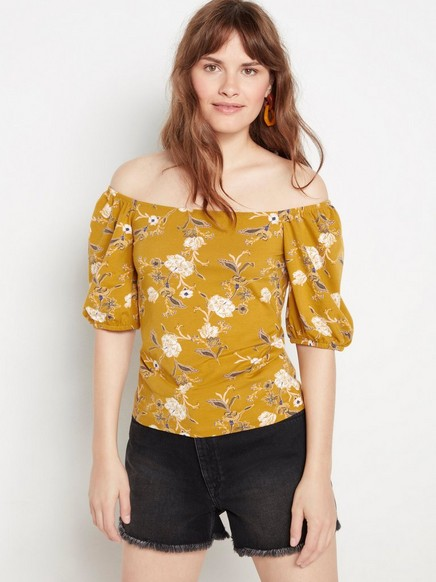 Kuviollinen pusero, jossa puhvihihat Keltainen