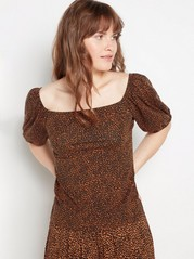 Patterned top with puff sleeves  Black