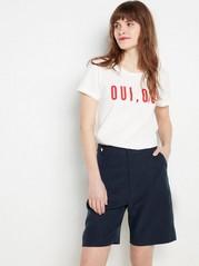Marineblå shorts i lyocellblanding Blå