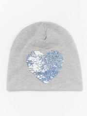 Grey jersey cap with reversible sequin heart and fleece lining Grey