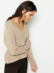 Stickad tröja i merinoull och kashmir Beige