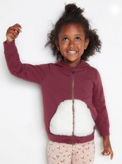 Hooded sweater with pile ears Pink