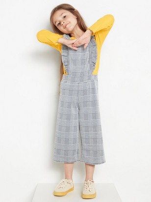 Checked dungarees with frills Black