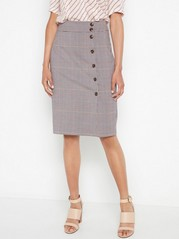 Checkered skirt Brown