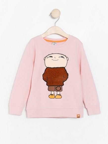 Rosa sweatshirt med Alfons Åberg-motiv Rosa