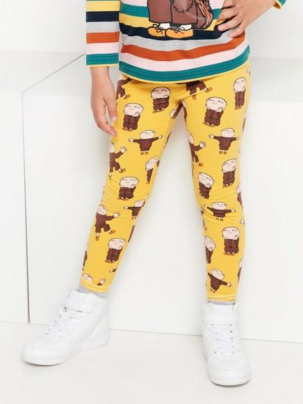 Keltaiset leggingsit, joissa Mikko Mallikas -painatus ja harjattu sisäpuoli Keltainen
