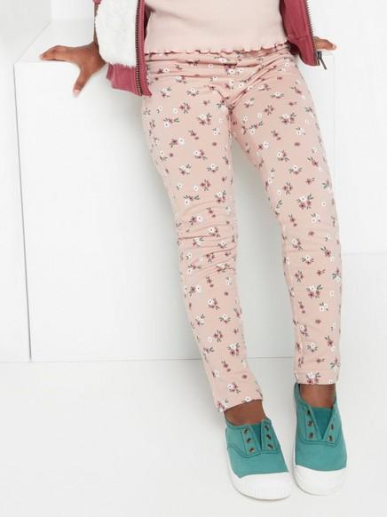 Vaaleanpunaiset leggingsit, joissa kukkakuviointi ja harjattu sisäpuoli Vaaleanpunainen