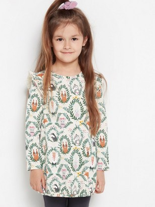 Tunic with animal pattern and frill shoulders Beige