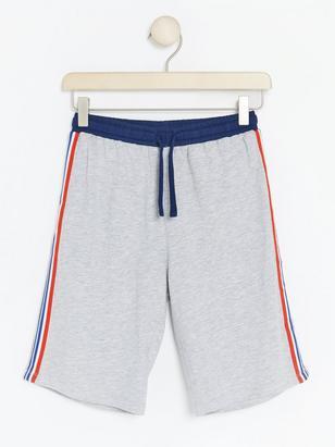 Pyjama Shorts with Side Stripes Grey