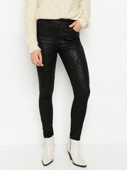Smal slangemønstret VERA-jeans med høyt liv Svart